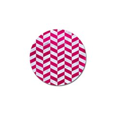 Chevron1 White Marble & Pink Leather Golf Ball Marker (4 Pack) by trendistuff