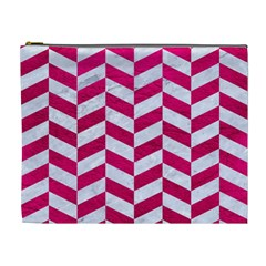 Chevron1 White Marble & Pink Leather Cosmetic Bag (xl) by trendistuff
