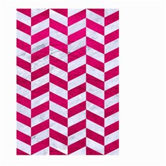 Chevron1 White Marble & Pink Leather Large Garden Flag (two Sides) by trendistuff