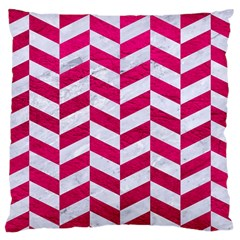 Chevron1 White Marble & Pink Leather Large Cushion Case (one Side) by trendistuff