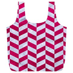Chevron1 White Marble & Pink Leather Full Print Recycle Bags (l)  by trendistuff