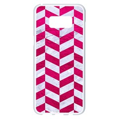 Chevron1 White Marble & Pink Leather Samsung Galaxy S8 Plus White Seamless Case