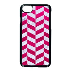Chevron1 White Marble & Pink Leather Apple Iphone 8 Seamless Case (black) by trendistuff