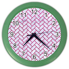 Brick2 White Marble & Pink Leather (r) Color Wall Clocks by trendistuff