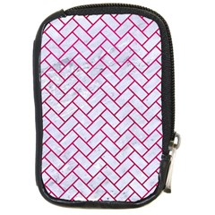 Brick2 White Marble & Pink Leather (r) Compact Camera Cases by trendistuff