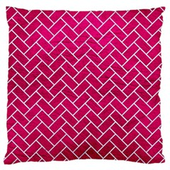 Brick2 White Marble & Pink Leather Large Cushion Case (two Sides) by trendistuff