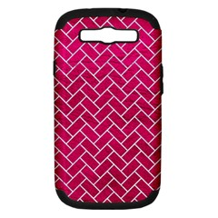 Brick2 White Marble & Pink Leather Samsung Galaxy S Iii Hardshell Case (pc+silicone) by trendistuff