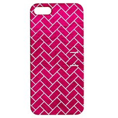 Brick2 White Marble & Pink Leather Apple Iphone 5 Hardshell Case With Stand by trendistuff