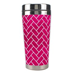Brick2 White Marble & Pink Leather Stainless Steel Travel Tumblers by trendistuff