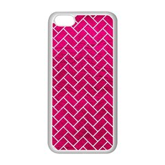 Brick2 White Marble & Pink Leather Apple Iphone 5c Seamless Case (white) by trendistuff