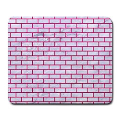 Brick1 White Marble & Pink Leather (r) Large Mousepads by trendistuff