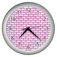 Brick1 White Marble & Pink Leather (r) Wall Clocks (silver)  by trendistuff