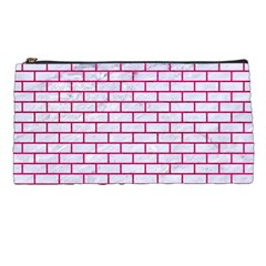 Brick1 White Marble & Pink Leather (r) Pencil Cases by trendistuff