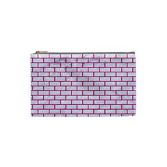 Brick1 White Marble & Pink Leather (r) Cosmetic Bag (small)