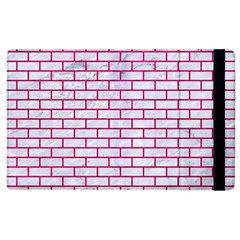Brick1 White Marble & Pink Leather (r) Apple Ipad 3/4 Flip Case