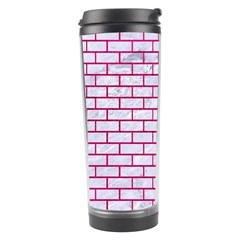 Brick1 White Marble & Pink Leather (r) Travel Tumbler by trendistuff