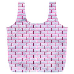 Brick1 White Marble & Pink Leather (r) Full Print Recycle Bags (l)  by trendistuff