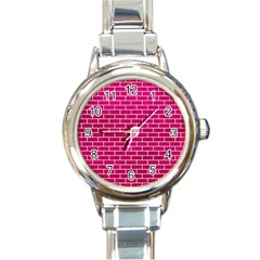 Brick1 White Marble & Pink Leather Round Italian Charm Watch by trendistuff