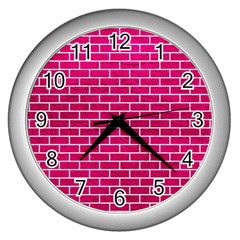 Brick1 White Marble & Pink Leather Wall Clocks (silver)  by trendistuff