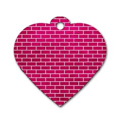 Brick1 White Marble & Pink Leather Dog Tag Heart (two Sides) by trendistuff