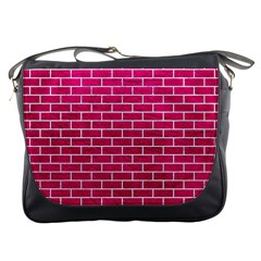 Brick1 White Marble & Pink Leather Messenger Bags by trendistuff