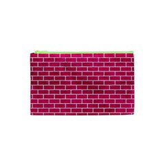 Brick1 White Marble & Pink Leather Cosmetic Bag (xs)
