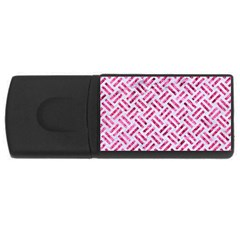 Woven2 White Marble & Pink Marble (r) Rectangular Usb Flash Drive by trendistuff
