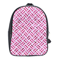 Woven2 White Marble & Pink Marble (r) School Bag (xl)