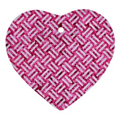 Woven2 White Marble & Pink Marble Ornament (heart) by trendistuff