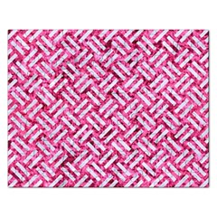 Woven2 White Marble & Pink Marble Rectangular Jigsaw Puzzl by trendistuff
