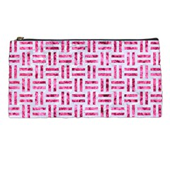 Woven1 White Marble & Pink Marble (r) Pencil Cases by trendistuff