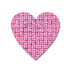 Woven1 White Marble & Pink Marble Heart Magnet by trendistuff