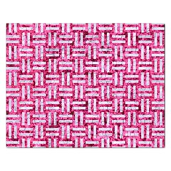 Woven1 White Marble & Pink Marble Rectangular Jigsaw Puzzl by trendistuff