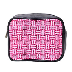 Woven1 White Marble & Pink Marble Mini Toiletries Bag 2 Side by trendistuff