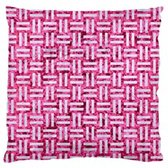 Woven1 White Marble & Pink Marble Large Flano Cushion Case (two Sides) by trendistuff
