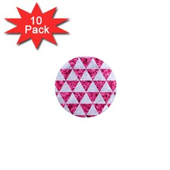 Triangle3 White Marble & Pink Marble 1  Mini Magnet (10 Pack)  by trendistuff