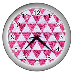 Triangle3 White Marble & Pink Marble Wall Clocks (silver)  by trendistuff
