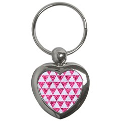 Triangle3 White Marble & Pink Marble Key Chains (heart)  by trendistuff