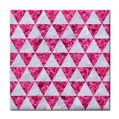 Triangle3 White Marble & Pink Marble Face Towel by trendistuff