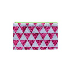 Triangle3 White Marble & Pink Marble Cosmetic Bag (xs)