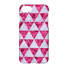 Triangle3 White Marble & Pink Marble Apple Iphone 8 Hardshell Case by trendistuff