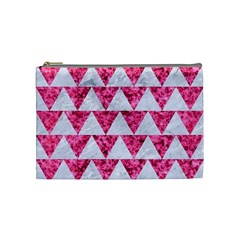 Triangle2 White Marble & Pink Marble Cosmetic Bag (medium)  by trendistuff