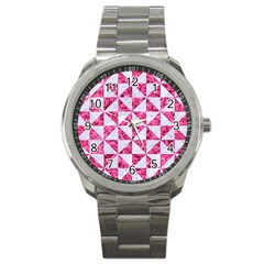 Triangle1 White Marble & Pink Marble Sport Metal Watch by trendistuff