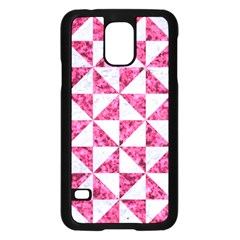 Triangle1 White Marble & Pink Marble Samsung Galaxy S5 Case (black) by trendistuff