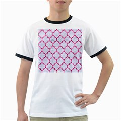 Tile1 White Marble & Pink Marble (r) Ringer T Shirts by trendistuff