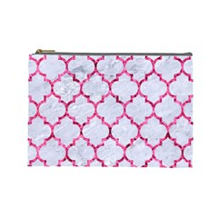 Tile1 White Marble & Pink Marble (r) Cosmetic Bag (large)  by trendistuff