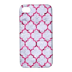 Tile1 White Marble & Pink Marble (r) Apple Iphone 4/4s Hardshell Case With Stand by trendistuff