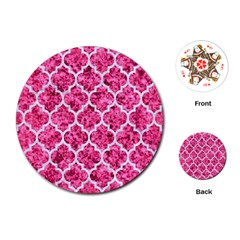 Tile1 White Marble & Pink Marble Playing Cards (round)  by trendistuff