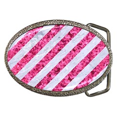 Stripes3 White Marble & Pink Marble (r) Belt Buckles by trendistuff