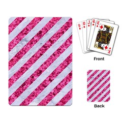 Stripes3 White Marble & Pink Marble (r) Playing Card by trendistuff